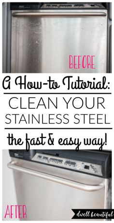 How to Clean Stainless Steel - the Fast and Easy Way!  No more messy olive oil or cleaners that don't work. Learn how to make your stainless steel kitchen appliances shine with this easy method that will have them sparkling in minutes!
