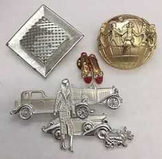 Vintage Brooch Lot Sarah Coventry AJC Rhinestone   Ruby Slippers Car Pin Jewelry