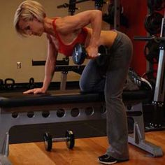 One-Arm Dumbbell Row - middle back/compound/pull Workout Log, Dumbbell Workout, Workout Guide, Workout Videos, Exercise Videos, Dumbbell Exercises, Rowing Exercise, Buttocks Workout, Workout Plans