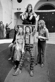 Former Beatle Paul McCartney with his wife Linda and their pop group Wings, 1972.