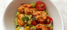 Photo of the quinoa and avocado salad with chili-lime shrimp