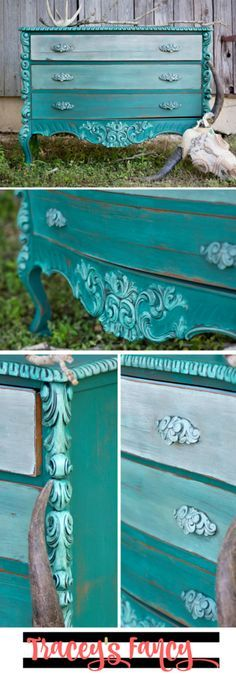 Painted Teal Dresser with Ombre Drawers   Tracey's Fancy painted this gorgeous dresser with shades of blues from Heirloom Traditions   Learn how to distress edges, add antiquing gel and paint with a highlighting layered-effect - furniture painting tips galore!