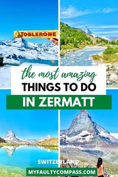 Zermatt is a postcard-perfect Swiss village with charming wooden chalets & flowers adorning the windows, snowy mountains dominating the landscape (Hello, Matterhorn!) and stellar Swiss engineering enabling you to visit those mountains! Read here for the best things to do in Zermatt & useful information on planning your trip. Things to do in Switzerland | Best places to visit in Switzerland | Hidden gems in Switzerland | Zermatt what to do| #switzerland #MyFaultyCompass #zermatt #matterhorn Backpacking Europe, Road Trip Europe, Europe Travel Guide, Travel Guides, Travel Abroad, Europe Destinations, Holiday Destinations, Cool Places To Visit, Places To Travel