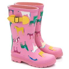Joules Junior Welly Boots for Girls in Bonbon Horses 11, 12 - The Tack Room , Inc.