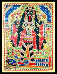 Shop unique, award-winning Artisan treasures by NOVICA, the Impact Marketplace. Each original piece goes through a certification process to guarantee best value and premium quality. Madhubani Art, Madhubani Painting, Art Indien, Myths & Monsters, Kali Ma, Les Religions, Indian Folk Art, Mother Goddess, Powerful Images