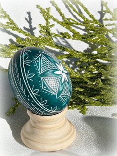 Teal Hand Etched Egg Star Scratched Lithuanian by artbythedozen