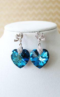Bermuda Blue Swarovski Heart Crystal Earrings - something blue wedding, gifts for her, bridal brides bridesmaid earrings, by GlitzAndLove on Etsy, www.glitzandlove.com