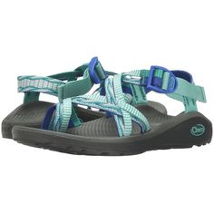 Chaco Z/Cloud X2 (Lima Blue) Women's Sandals featuring polyvore, women's fashion, shoes, sandals, blue, toe loop sandals, buckle sandals, platform sandals, padded sandals and toe ring sandals