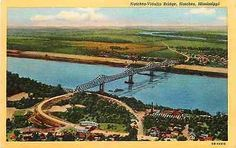 Natchez Mississippi MS Vidalia Louisiana LA Bridge 1940 Antique Vintage Postcard