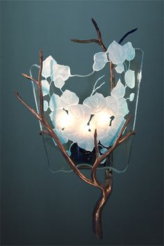Custom fused etched art glass chandelier lighting fixtures