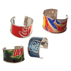 DIY cuff bracelets from aluminum cans: couldn't you turn the silver side up and then print on them? Recycled Jewelry, Recycled Crafts, Diy Jewelry, Jewelry Making, Fork Jewelry, Jewelry Ideas, Jewelery, Aluminum Can Crafts, Aluminum Cans