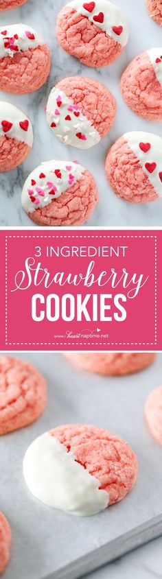 EASY Chocolate Dipped Strawberry Cookies ...made with only 3 ingredients! So good! These make the perfect Valentine's Day treat!