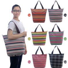 Waterproof Beach Tote Shoulder Travel Handbag Shopping Plaid Striped School Bag #Generic #Clutch