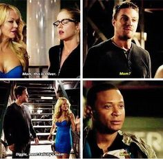 Arrow - Diggle, Oliver, Donna and Felicity #3.5 #Season3 ♥ ''Mom ?'' Their shocked faces when meeting Donna!