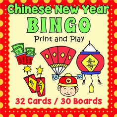 Here is a fun way to celebrate Chinese New Year in the classroom or at a party.  Kids will love playing this bingo game and they will be reviewing spelling and vocabulary as they're having fun .  Included are 32 vocabulary calling cards and 30 unique bingo game boards.