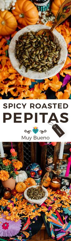 Plain pumpkin seeds get a kick from chili powder, making them a delightfully crunchy and addictive appetizer for your Día de Muertos celebration. This easy roasted pepitas recipe is sure to become a fall favorite! #spicy #pumpkin #pepitas #pumpkinseeds #Mexican #Mexicanrecipe | muybuenocookbook.com @muybueno Thanksgiving Recipes, Fall Recipes, Pumpkin Recipes, Recetas Salvadorenas, Food Inspiration, Mexican Food Recipes, Food Videos, Bueno Recipes, Healthy Snacks