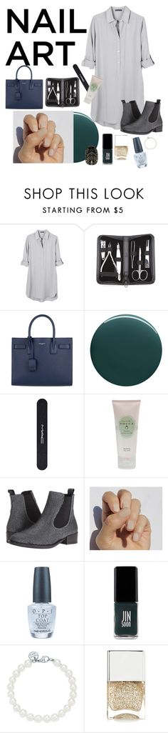 """""""Green With Envy: Wintery Nail Polish"""" by lauradesousa76 ❤ liked on Polyvore featuring United by Blue, Royce Leather, Yves Saint Laurent, Deborah Lippmann, MAC Cosmetics, Tocca, Wolky, SoGloss, OPI and JINsoon"""