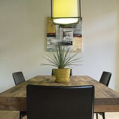 Brazilian reclaimed peroba wood dining table. @asid_hq  #spacematters  #wid2014 , matters bc I feed the people I love and do all my design work here.| @erikgarciadesign