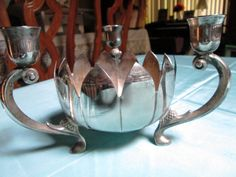 Silverplated Lotus Blossom Candelabra - $38 - On Etsy - PLCandMore!