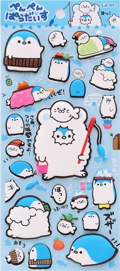 funny penguin paradise animal sponge stickers from  Japan 2