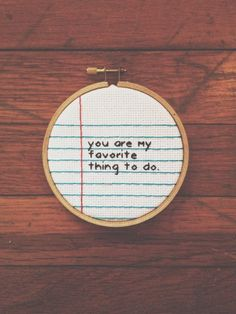 Paper Embroidery Patterns Items similar to Notebook Paper Cross Stitch Wall Hanging Art Love Hoop - Valentine. You're My Favorite Thing to Do on Etsy - Embroidery Hoop Art, Cross Stitch Embroidery, Hand Embroidery Patterns, Cross Stitch Designs, Cross Stitch Patterns, Cross Stitch Kids, Naughty Cross Stitch, Notebook Paper, Cross Stitching