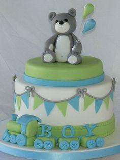 Baby Boy Cake - by CakeHeaven @ CakesDecor.com - cake decorating website