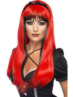 Bewitching Wig, Red over Black