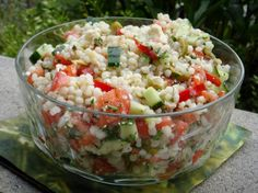 Israeli Couscous Salad from Food.com: A combination of several favorite recipes all in one! Israeli coucous is larger than regular coucous and can be found in the kosher section of the grocery store.