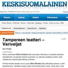 """""""Paatso ja Rintala heittäytyvät elämän moukaroimiin äitihahmoihinsa itseään säästelemättä"""", kirjoittaa Anu Puska Keskisuomalaisessa. #Veriveljet #Tampere #Teatteri"""