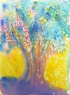 Fantasy Tree Art Watercolor Painting by Cathy by CathyHillegas