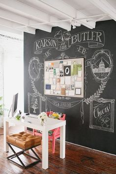 I like the idea of a chalkboard wall! Great for jotting down ideas, working out plot, etc.Whiteboard/Dry Erase would good too.  Would need a real chair though, not a stool.