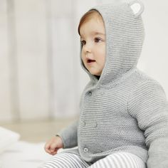Bear Ears Cardigan - Silver Grey Marl AW 2015 http://www.parentideal.co.uk/the-white-company---baby-boys-clothing.html