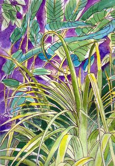 Original Watercolour Painting - Tropical Grasses and Leaves, available at my Etsy shop now, Sept 2017.