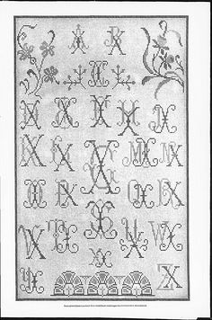 Cross stitch monograms, border and ornaments, some with Art Nouveau influences.   (visit site for bigger picture)   Gracieuse. Geïllustreerde Aglaja, 1905, aflevering 15, pagina 179