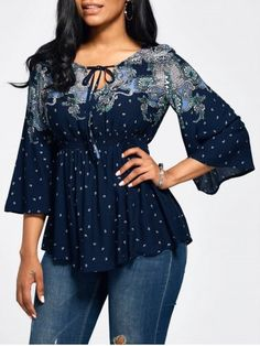 GET $50 NOW | Join RoseGal: Get YOUR $50 NOW!https://www.rosegal.com/blouses/vintage-print-flare-sleeve-empire-1194089.html?seid=10890959rg1194089