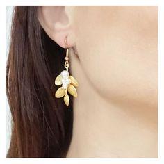 boucles d'oreilles feuilles - boucles d'oreilles mariage - boucles d'oreilles mariée