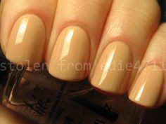 OPI Samoan Sand (this is actually Samoan Sand on index and ring, China Glaze Nude on middle and pinky; they are, to my eye, dead-on dupes)