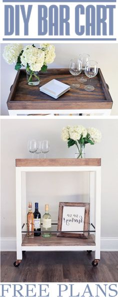 DIY Bar Cart - Woodworking Plans Home Decor