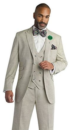 EJ Samuel Olive 3 Piece Modern Fit Suit in Wool Blend M26...