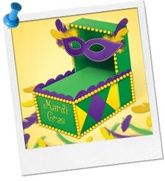 Mardi Gras Shoebox Float...shoeboxes, markers, paint, feathers, beads, craft sticks, pipe cleaners, straws, scissors, glue, tape, wrapping paper [white side]