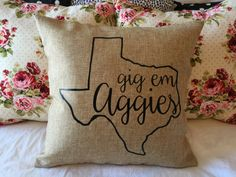 Gig 'em Aggies pillow by CaffeineandCotton on Etsy