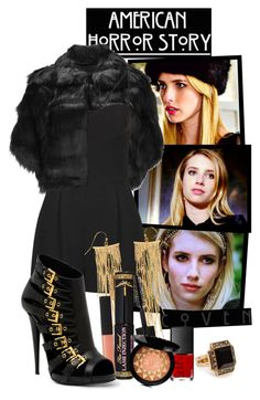 """""""Madison Montgomery (American Horror Story Coven)"""" by giovanna1995 ❤ liked on Polyvore featuring Coven, Unreal Fur, Topshop, Panacea, NARS Cosmetics, Guerlain, Giuseppe Zanotti, americanhorrorstory, ahs and madisonmontgomery"""