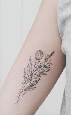 Floral illustration tattoo