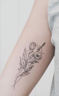 Flower outline tattoo, forearm flower tattoo, tattoo floral, flower b Flower Outline Tattoo, Flower Bouquet Tattoo, Forearm Flower Tattoo, Flower Tattoo Shoulder, Flower Tattoo Designs, Forearm Tattoos, Body Art Tattoos, Small Tattoos, Tattoo Flowers