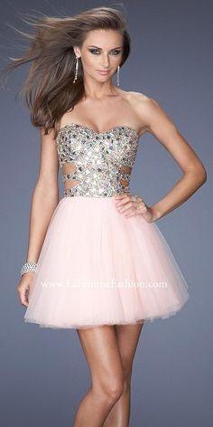La Femme Mirrored Beaded Bodice Tulle Short Prom Dresses  PromDress Prom  Dress 2014 6d6279be1