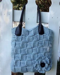 "Picture of Basket Weave Bag Crochet Pattern ~ easy ~ 13""W x 12""H ~ use bulky yarn ~ great texture ~ lve the flower on it - really makes rhe bag ~ CROCHET"