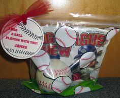 I gave these treat bags to my son's team for an End of Season favor. I got the ziploc bags at Michael's, the Big League Chew at Academy, an...