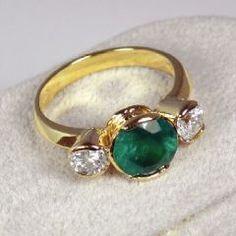 Estate 3.85cts Fine 3 Round Cut Stones Colombian Emerald & Diamond Ring Gold 18k