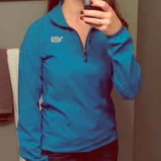 NORTH FACE Blue 1/4 Zip Light Jacket North Face 1/4 zip jacket. Tech gear kind of material. Light jacket, perfect for spring or fall. Beautiful medium blue color. In like new condition, only worn a few times. North Face Jackets & Coats