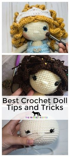 Free Crochet Doll Tutorials - Everything to know about making the perfect crochet doll! From doing the hair and attaching the head to pretty details like cheeks and eyelashes! #crochettoys